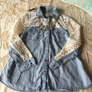 Anthropologie $88 Chambray Lace button down shirt